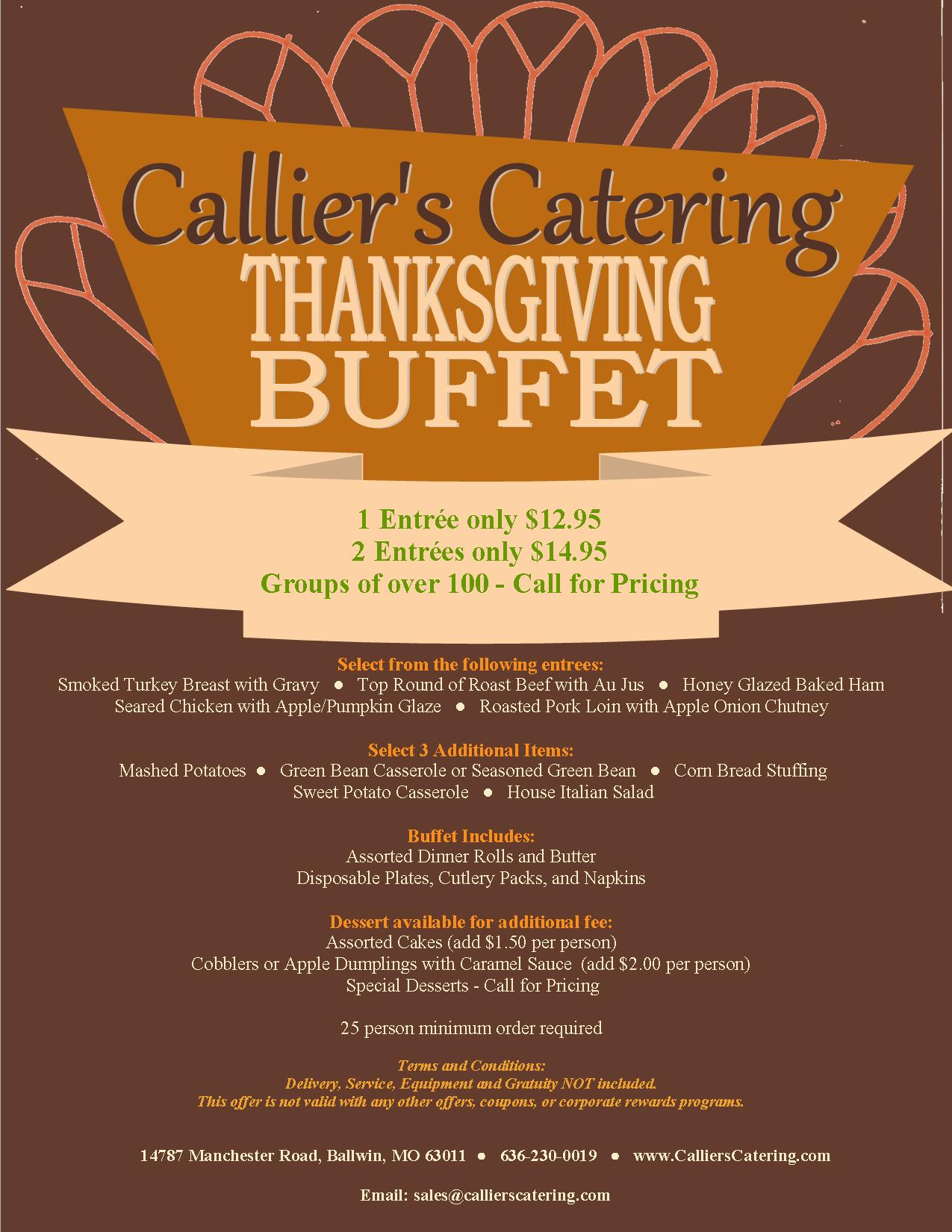 Thanksgiving 2016 Callier S Catering