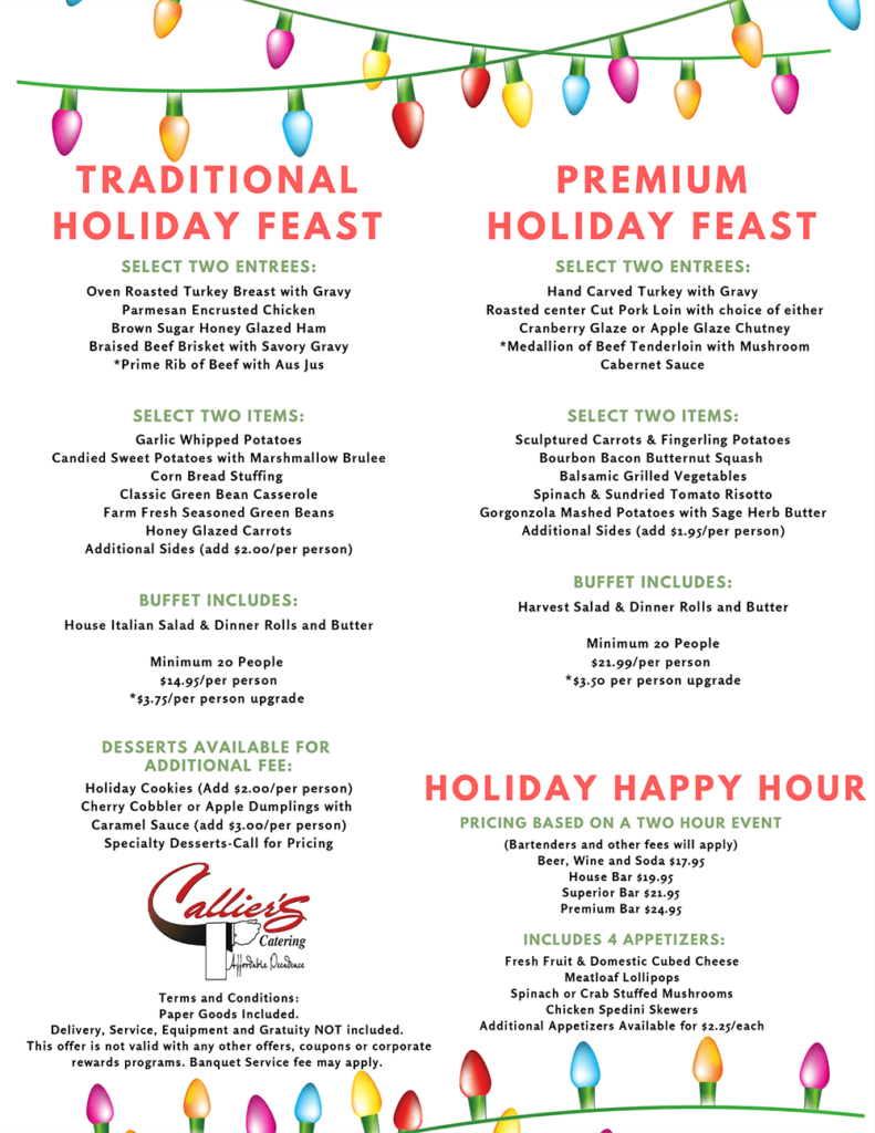 Traditional & Premium Holiday Feasts 2018